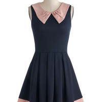 ModCloth Colorblocking Mid-length Sleeveless A-line Prose and Contrast Dress in Navy