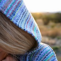 Mexican Threads| Blue Rainbow Baja Hoodie Drug Rug | Mexican Threads