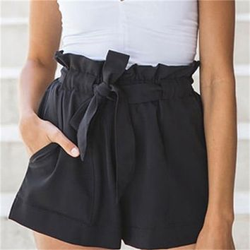 Bandage Bow Tie Casual Shorts High Waist