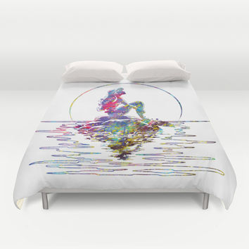 The Little Mermaid Ariel Silhouette Watercolor Duvet Cover by Bitter Moon