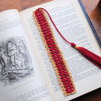 Crochet bookmark with tassel, red and gold lace bookmark