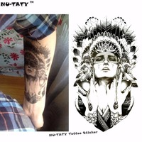 Nu-TATY Indian Warrior Temporary Tattoo Body Art Flash Tattoo Stickers 12*20cm Waterproof Fake Tatoo Styling Home Decor Sticker