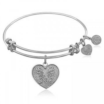 Expandable Bangle in White Tone Brass with Heart Symbol