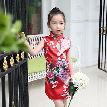 Summer girls dresses Chinese style girls Cheongsam floral kids dresses for girls cotton Qipao clothes sleeveless kids clothing