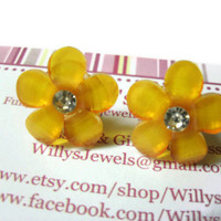 Flower Stud Earrings, Orange Daisies, Clear Rhinestone Center, Acrylic, Hypoallergenic Surgical Steel Posts