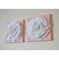 """White Roses on Light Pink 12 x12"""" Canvases Wall Art Set- Baby Nursery Wall Decor-"""