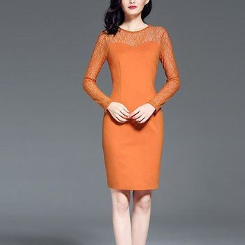 VONE05F8 plus Women and warmDress knitting long sleeve business olDresses for lady knee lengthDress workDress