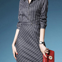 Grey Striped Half Sleeve Wrap Dress with Button