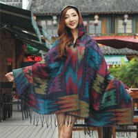 CRAZY Elegant Jacquard Weave Pashmina Shawl Wrap Cloak Scarf With Hood
