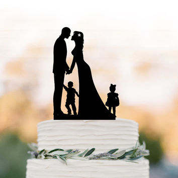 Bride and groom Wedding Cake topper with child, cake topper wedding, silhouette wedding cake topper with boy and girl, family cake topper