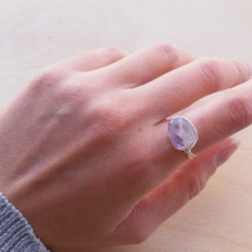 Minimalist Wire Wrapped Raw Amethyst Ring, Purple Raw Quartz Crystal Ring, Raw Stone Ring, Rough Gemstone Ring, Raw Crystal Ring, Crystal