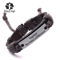 4pcs Mixed Color Vintage Bracelet Charm Genuine Leather Bracelets Men Bracelets for Women Best Friends