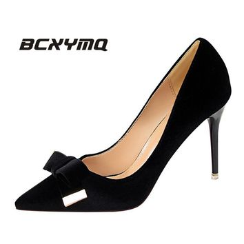 BCXYMQ High Hells Shoes Women Pointed Toe  9.5cm Thin Heel  Party  women shoes Butterfly-knot women pumps