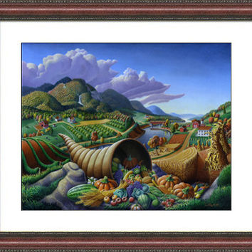 Fall Folk Art, Horn Of Plenty, Cornucopia, Autumn Rustic Farm Decor Landscape, Thanksgiving, Framed and Matted Print. Appalachia, Americana