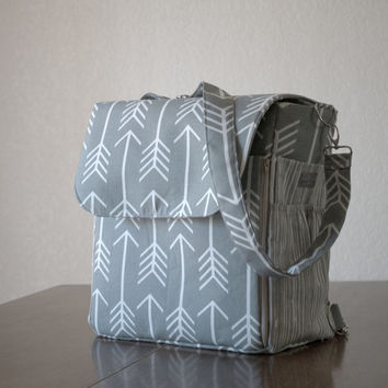Grey Arrow Backpack Diaper Bag - Convertible Diaper Bag - Crossbody bag - Shoulder bag - Diaper Bag