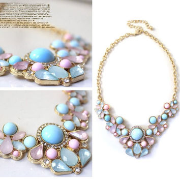 Factory Price Elegant Resin Flower Crystal Pendant Bubble Choker Chunky Statement Bib Necklace