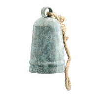 Decorative Handmade Antiqued Metal Farm Bell with Rope Handle - Cow Sheep Goat