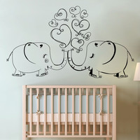 Vinyl Wall Decal Sticker Elephants In Love #1517
