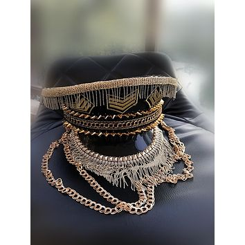 Handmade Fringe & Chains Military Hat