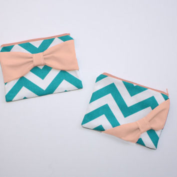 Cosmetic Case / Zipper Pouch / Makeup Bag - Turquoise and White Chevron with Peach Bow - Customizable Bow Style