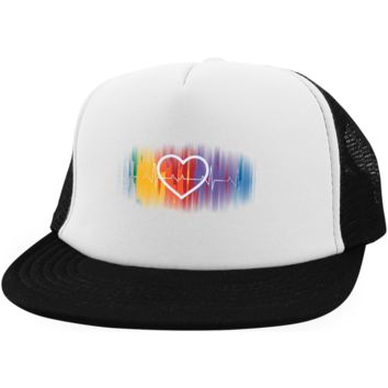 Gay Pride Trucker Hat Rainbow Heart Pulse