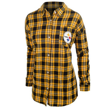 Pittsburgh Steelers Wordmark Long Sleeve Women's Flannel Shirt