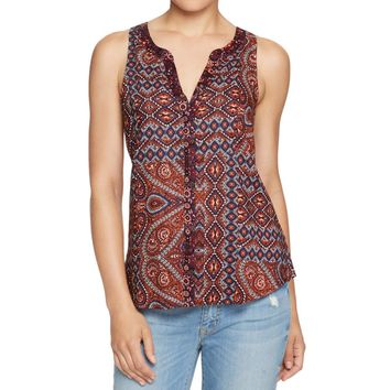 Sanctuary Womens Pattern Button-Down Tank Top