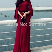 burgundy/royal blue super long chiffon vintage medieval dress long dress