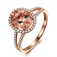 14k Rose Gold Morganite Oval Cut Split Shank Pave Engagement Ring or Cocktail Ring