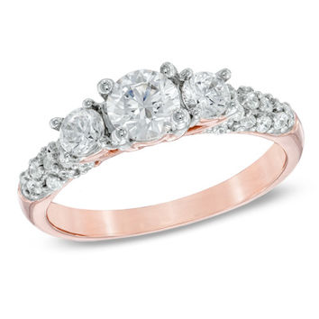 1 CT. T.W. Diamond Three Stone Engagement Ring in 14K Rose Gold