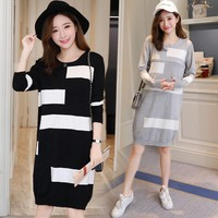 668# Autumn Knitted Maternity Nursing Dress Breastfeeding Clothes for Pregnant Women Spring Pregnancy Breast Feeding Clothing