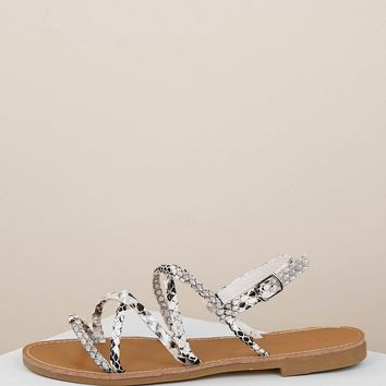 Buckled Ankle Snakeskin Strappy Flat Sandals