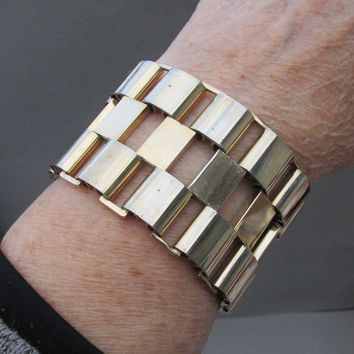 "FAB 2"" Wide Ultra Modern 1950's Abstract Gold Tone Bracelet"