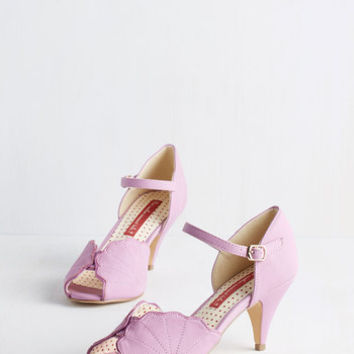 Vintage Inspired See What you can Seashell Heel in Orchid by Bait Footwear from ModCloth