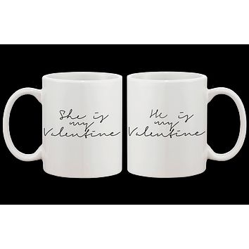 My Valentine Calligraphy Style Matching Coffee Mug- Couple Matching Cup