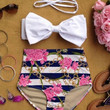 Ribbon Top with Floral Print High-Waisted Bikini
