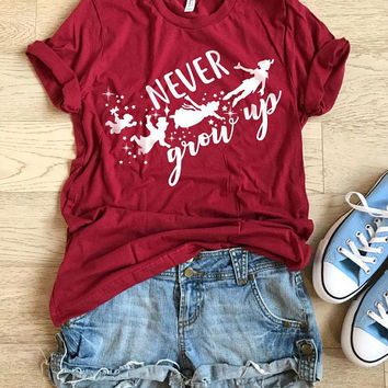 Never Grow Up. Unisex Fit. Hand Screen Printed With Eco Ink. Disney Inspired Shirt. T Shirt. Clothing. Light Weight T shirt. Cool T Shirt.