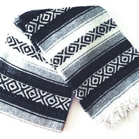 Black, Grey & White Mexican Blanket