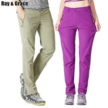 RAY GRACE Spring Summer Lovers Outdoor Pants Quick Dry Elastic Breathable Hiking Mountaineering Climbing Pants Men Women Fishing