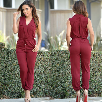 Maroon Sleeveless Surpliced Drawstring Waist Jumpsuit