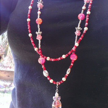 Shades of pink red glass beads double strand statement necklace, Angel wing pendant necklace