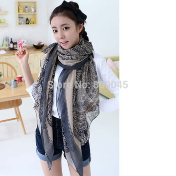 fashion silk scarf chiffon shawl long scaves women The disk of sika deer natural and pure and fresh 10pcs/lot SW21