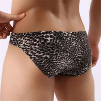 Hot Sexy Briefs Men Underwear Independent Pocket Trunks Calzoncillos Nightclubs Leopard Printed Gay Home Pants Clothes