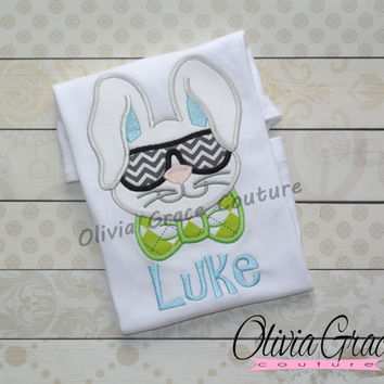 Boys Easter Shirt, Cool Bunny Shirt, Embroidered Applique Shirt or Bodysuit