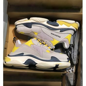 Balenciaga Triple S Low Top Sneaker Women Men Classic Shoes Grey Yellow