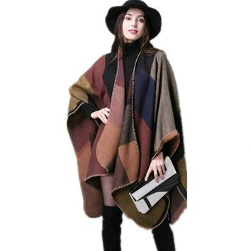 2018 Autumn Winter Cardigan Women Thick Warm Plaid Poncho and Wrap Plus Size Knitted Pashmina Cashmere Sweaters Cape MY23