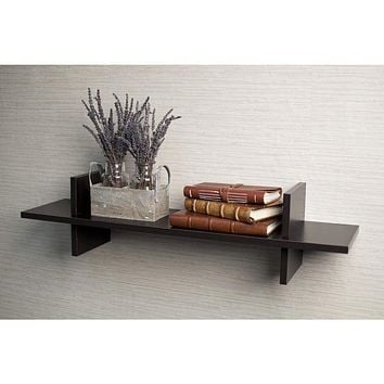 "Contemporary Wooden ""H"" Shaped  Wall Shelf with Spacious Display, Espresso Brown By DanayB"