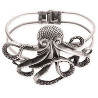 PLASTICLAND - Antiqued Silver Octopus Cuff Bracelet
