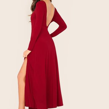 Split Side Open Back Solid Dress