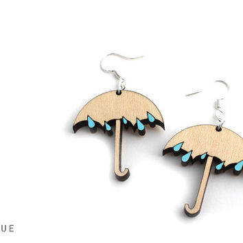 Cyber Monday Sale Umbrella & Raindrops Wooden Earrings - Laser Cut Wood Umbrella and Raindrops Sterling Silver Spring Fashion Earrings